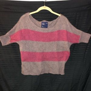 Wide shoulder stripped American Eagle sweater